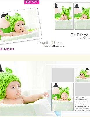 2014年7月最新儿童PSD分层影楼摄影样片相册百天宝宝模板 43P