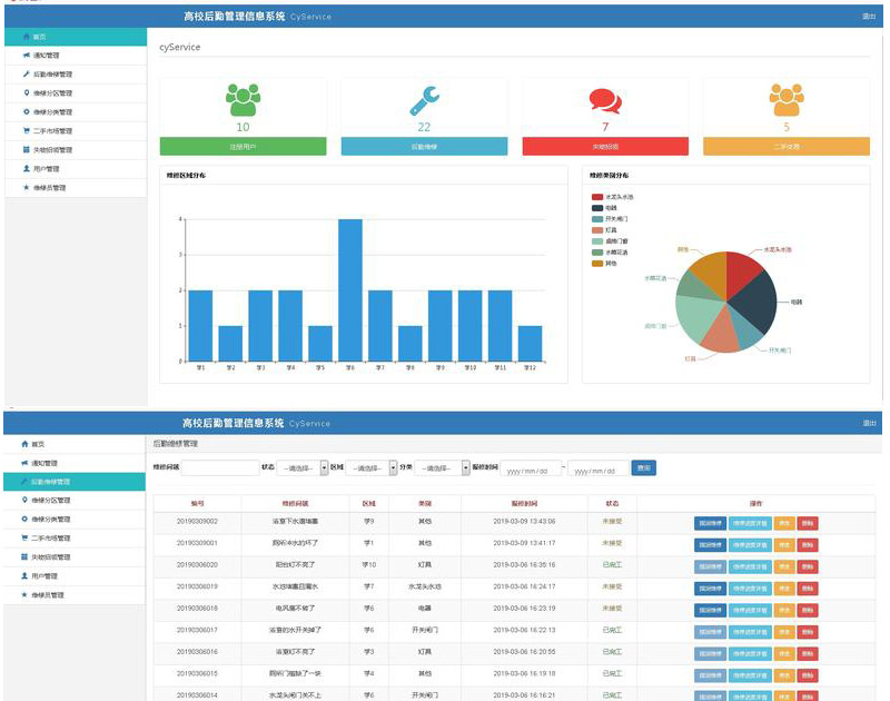 3160-SSM+MUI+VUE双端高校后勤服务平台 高校后勤管理系统